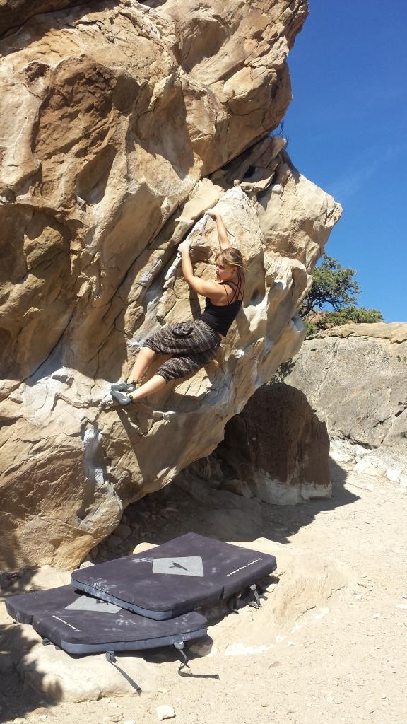 Merissa climbing sandstone.
